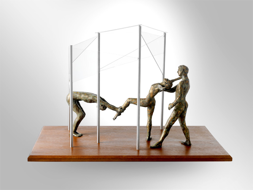"Just for a Second Wood, Plexiglass, Bronze, 18"" H x 26"" W x 16"" W $3250"